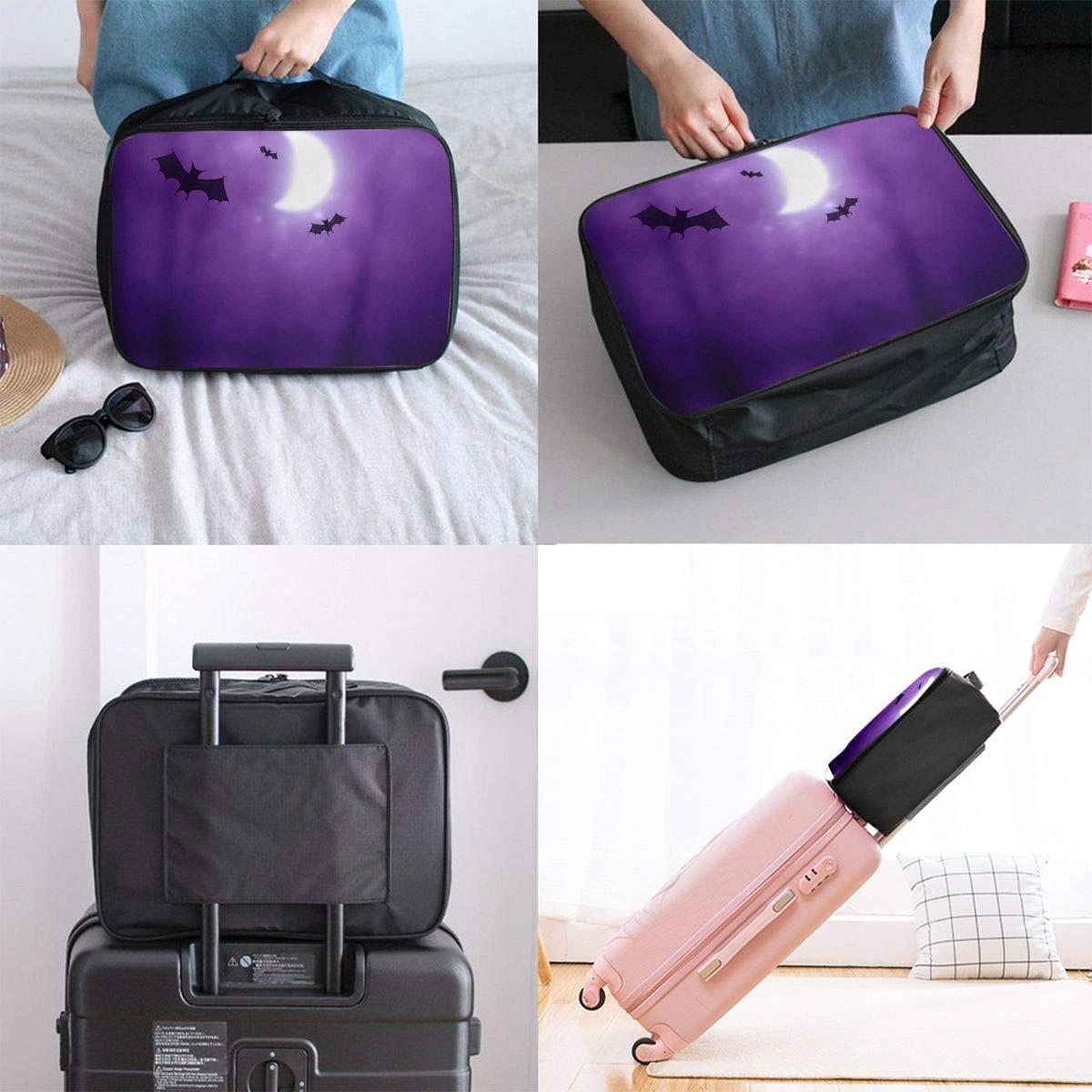 Travel Luggage Duffle Bag Lightweight Portable Handbag Purple Bat Moon Large Capacity Waterproof Foldable Storage Tote