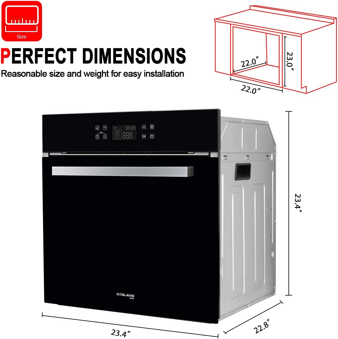 240V 3200W 2.3Cu.f 11 Cooking Functions Convection Wall Oven with Rotisserie Single Wall Oven Digital Display Touch Control GASLAND Chef ES611TB 24 Built-in Electric Ovens Tempered Glass Finish
