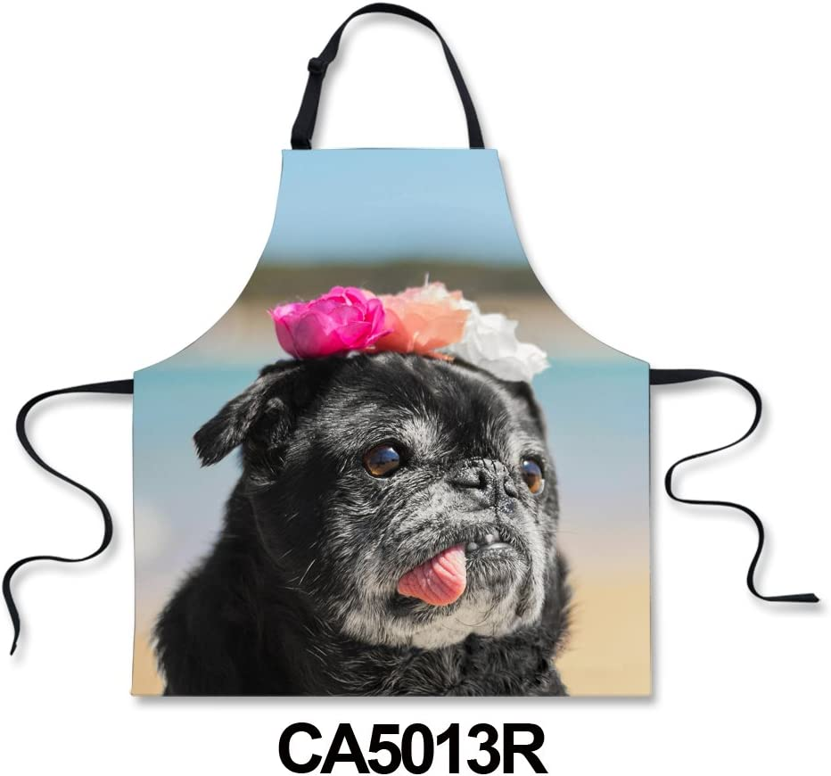 Cooking Kitchen Aprons Bib Apron Novelty for Men Women BBQ Cute Kitty Funny Dog Print