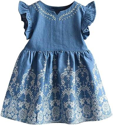 Ropa Ni/ña Flor De Mezclilla de Manga Larga Trajes de Vestir Princesa Vestidos Ni/ña Vestido de Fiesta 2018 Ofertas K-youth Vestido para Beb/és