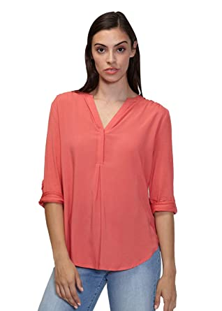df0ea4f405be5 Pleione Womens V-Neck Pleated Shoulder Solid Blouse with 3 4 Button Tab  Sleeve