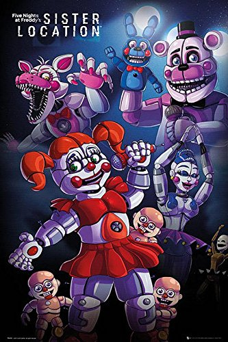 (Close Up Five Nights at Freddy's Poster - Sister Location (61cm x 91,5cm) + 1 pair of transparent poster hangers)