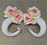 Fashion Sheep Horn Rose Flower Hair Clip Forest Department Cos Cosplay Photograph Photography Props Hair Jewelry Accessories (White)