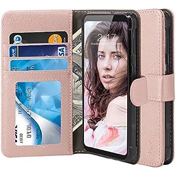 LG Q6 Case, LG G6 Mini Case, LG Q6 Plus Case, TAURI [Stand Feature] Wallet [PU Leather] Protective Case Flip Cover For LG Q6 / LG G6 Mini / LG Q6 Plus - Rose Gold