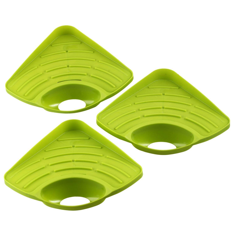 Verde Nrpfell 3 Pezzi Spugna Caddy lavello da Cucina Supporto per grattacapi Pulizia portaspazzole lavello Organizer