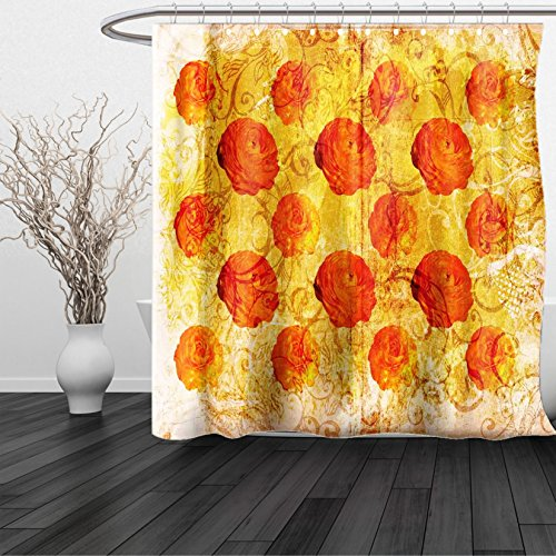 Aruba Recycled Plastic Materials (HAIXIA Shower Curtain Burnt Orange Vintage Rose Flower Pattern Grubby Paint Texture Grunge Rusty Effects Image Queen Full Orange Tan)
