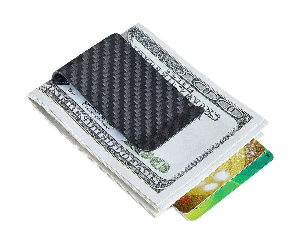 Carbon fiber wallet Money Clip Credit Card holder-CL CARBONLIFE Clips for men Matt Black