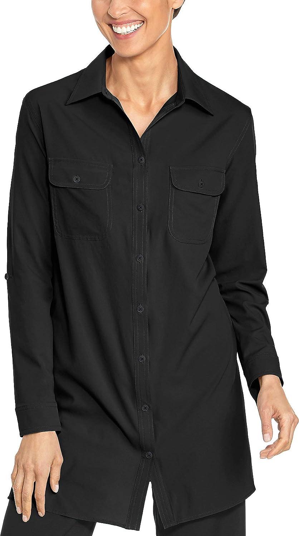 Medium Coolibar UPF 50+ Women's Santorini Tunic Shirt  Sun Predective (Medium Ice bluee)