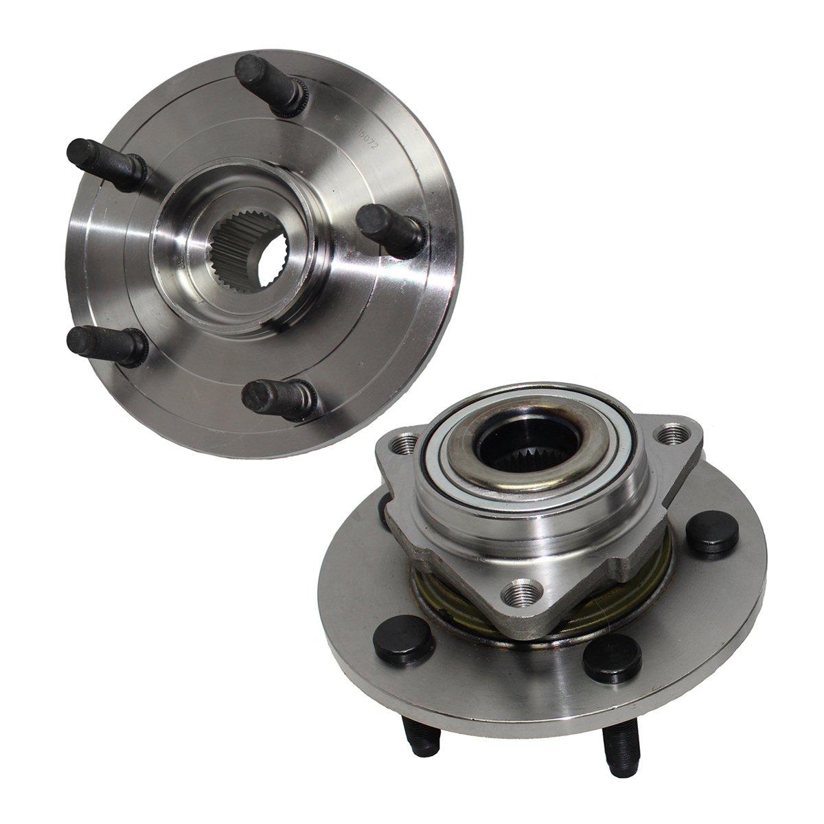Detroit Axle - Brand New Pair Front Wheel Hub and Bearing Assemblies, NO ABS on HUB fits [2002-2008 Dodge Ram 1500 No ABS on Hub 5-Lug]