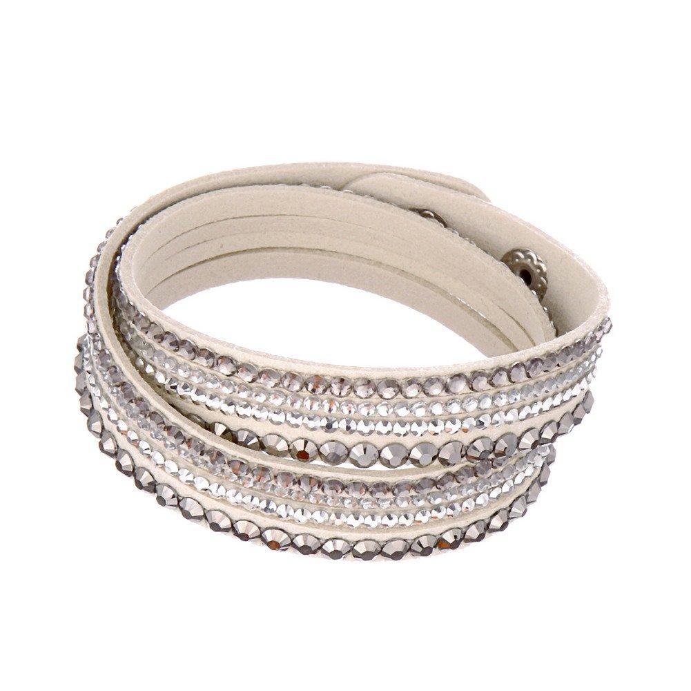 Beautiful Bead Women New Fashion Genuine Leather Wrap Multilayer Rhinestones Hot Fix Bracelet-Grey