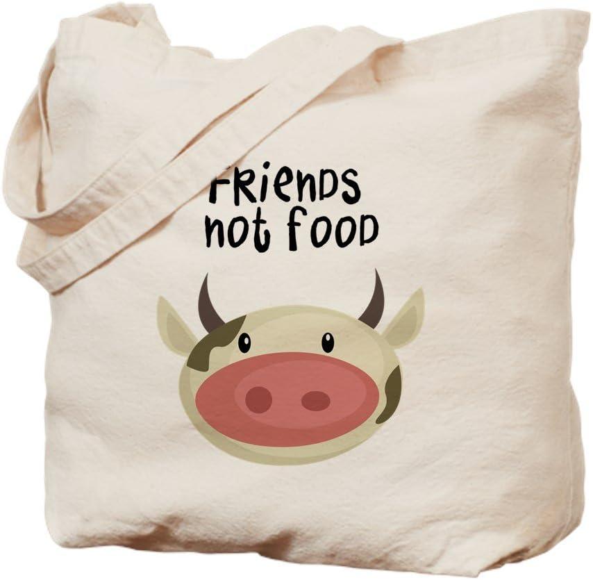 CafePress Friends Not Food Natural Canvas Tote Bag, Reusable Shopping Bag