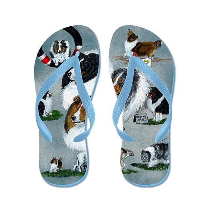 136c0c9447e Amazon.com | CafePress Sheltie Versatility Beach Sandals | Flip-Flops