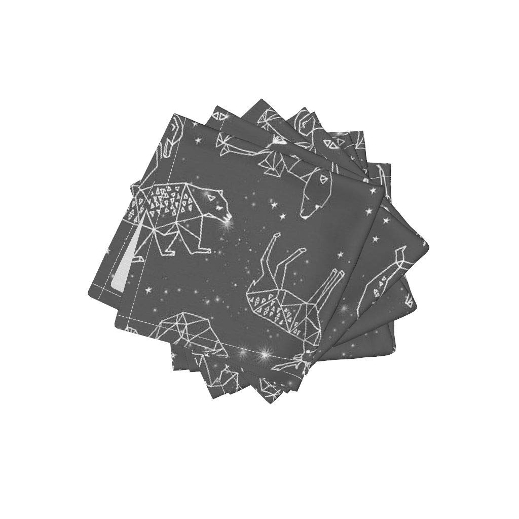 Roostery Constellations Linen Cotton Cloth Cocktail Napkins - Charcoal Kids Nursery Baby Animals by Andrea Lauren (Set of 4) 10 x 10in
