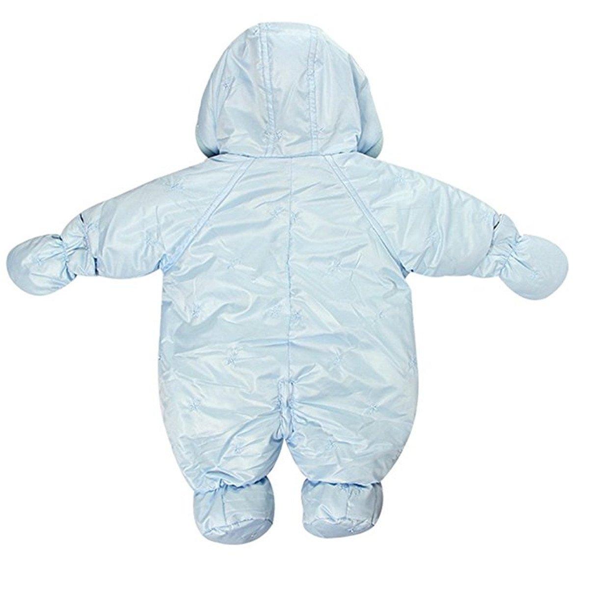 REWANGOING Little Girls Boys One Piece Winter Warm Hoodie Puffer Down Jacket Jumpsuit Snowsuit Romper Outwear
