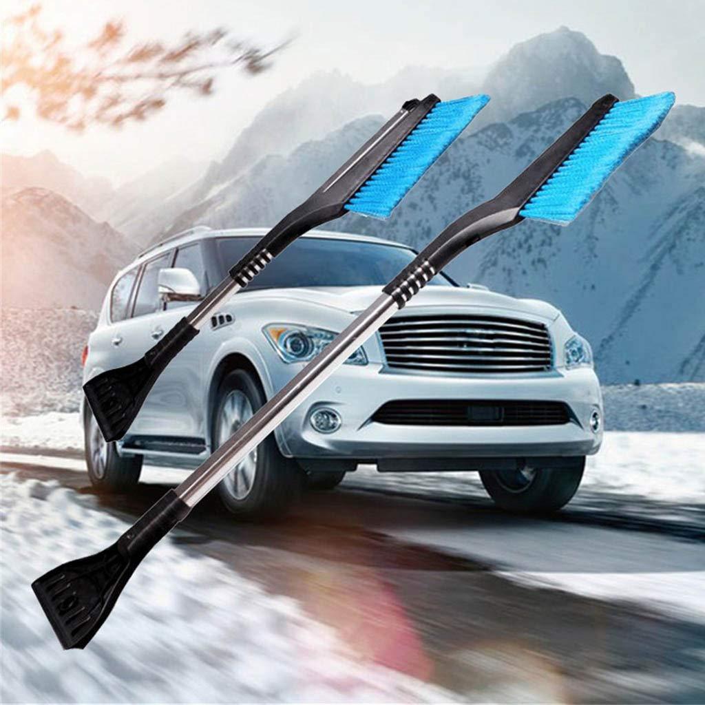 HeziCat 3 in 1 Snow Brush and Ice Scraper,Extendable Snow Brush with Squeegee & Ice Scraper Extendable Snow Brush Snow Brush Winter Deicing Tool (Blue)