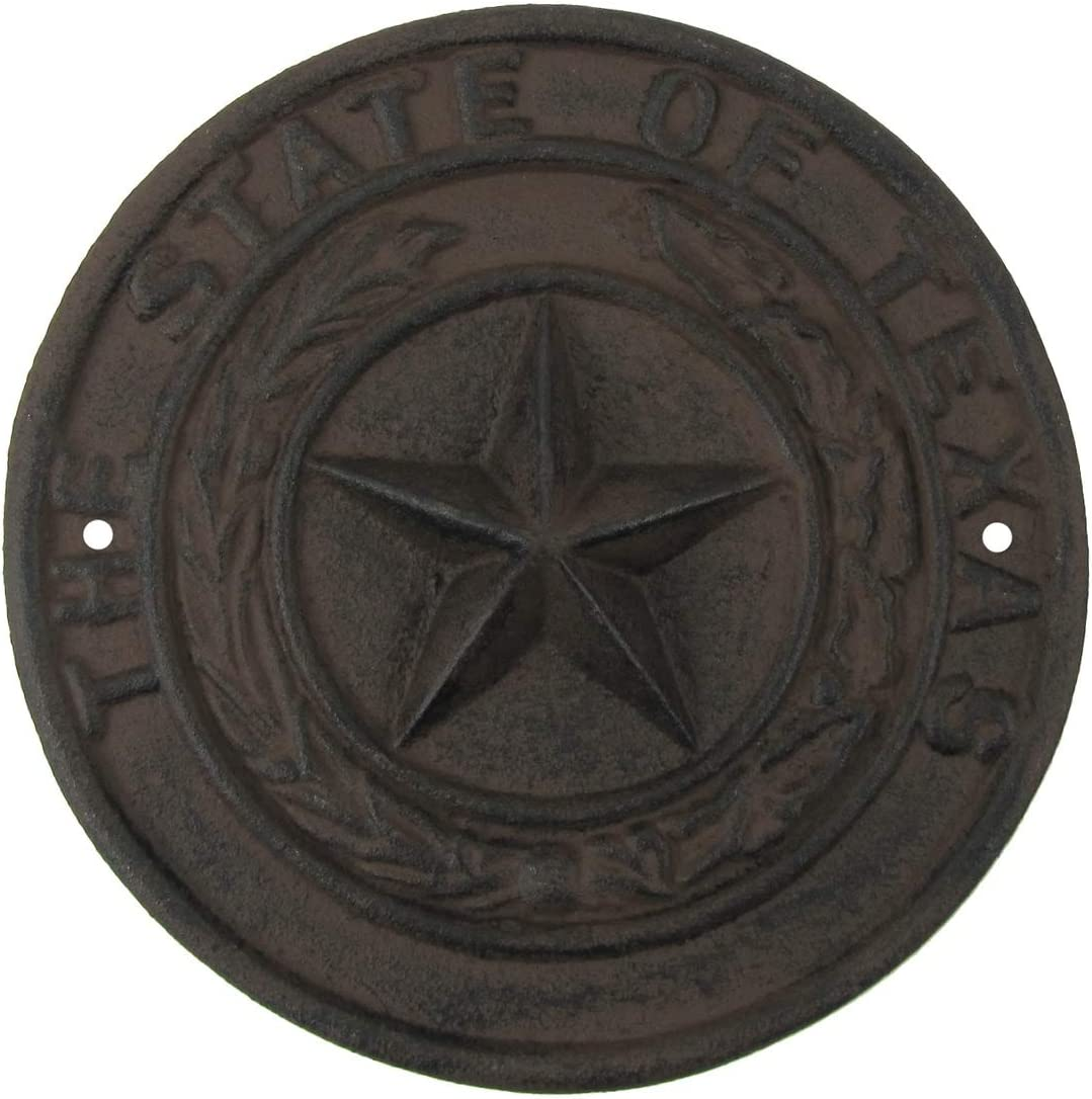 TG,LLC Treasure Gurus Rustic Cast Iron Texas Seal Sign TX Lonestar Garage Man Cave Bar Wall Decor