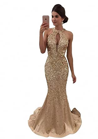 Mermaid Evening Dresses Long Bling Halter Beading Off Shoulder Formal Prom Dresses Gold-US2
