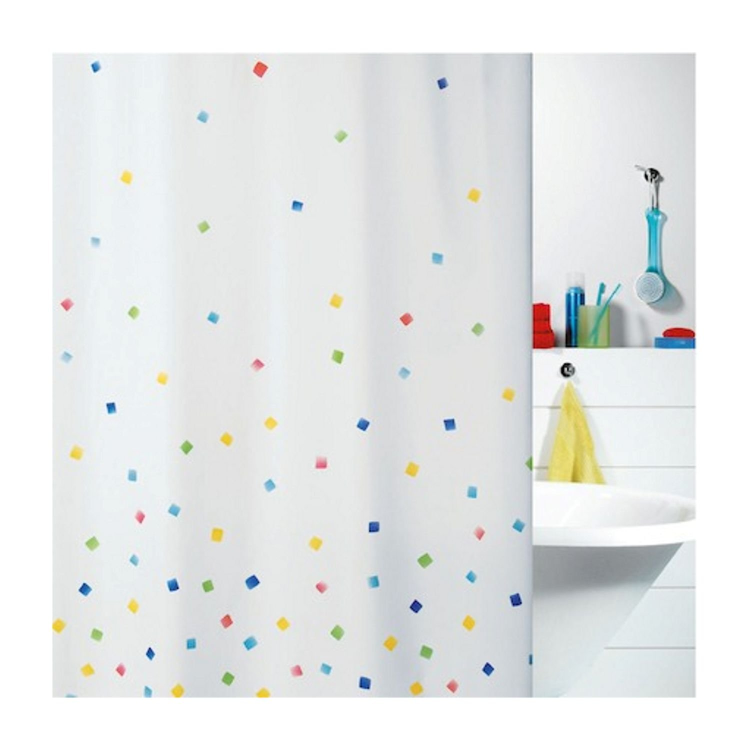Spirella Sweetie Multi-Colour Textile Polyester Shower Curtain, 180 ...