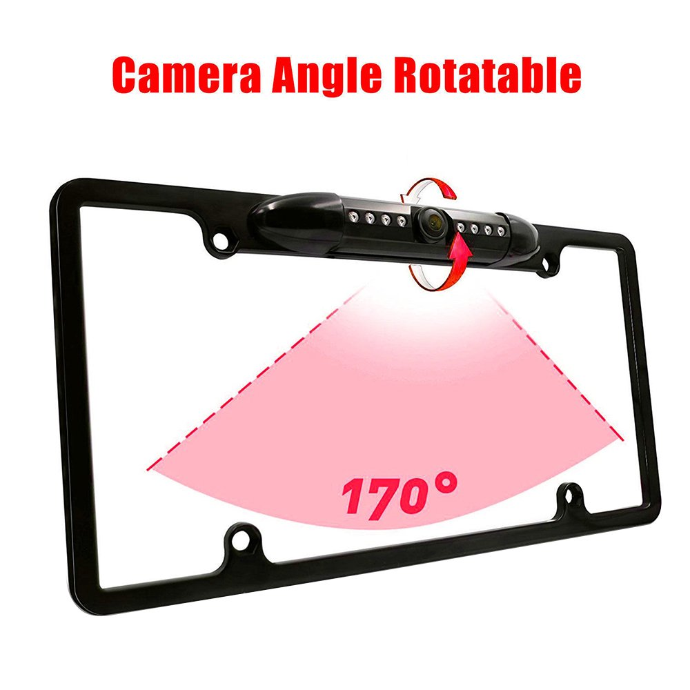 CMOS Waterproof Car License Plate Frame Rear View Camera 170 Degree Night Vision Parking Reversing Assistance Wide Angle with 8 LED
