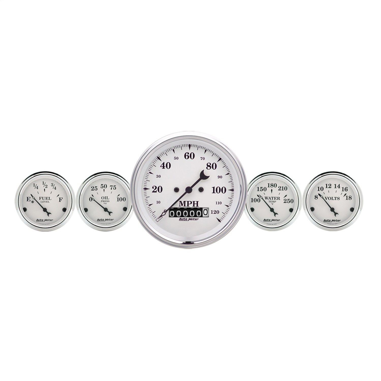 Auto Meter 1640 Old Tyme White 5 Fuel/Oil/Speedo/Volt/Water Gauge Kit