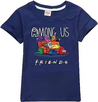 Camiseta Divertida para niños Among Us Gaming Impostor Character 100% algodón Niños Niñas Camiseta Viral Gamer Top-13 Colores/Edad 4-13 años (Navy Blue,10-11 años)