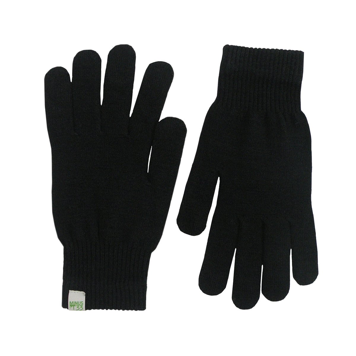 Minus33 Merino Wool Glove Liner Black, Black, Large