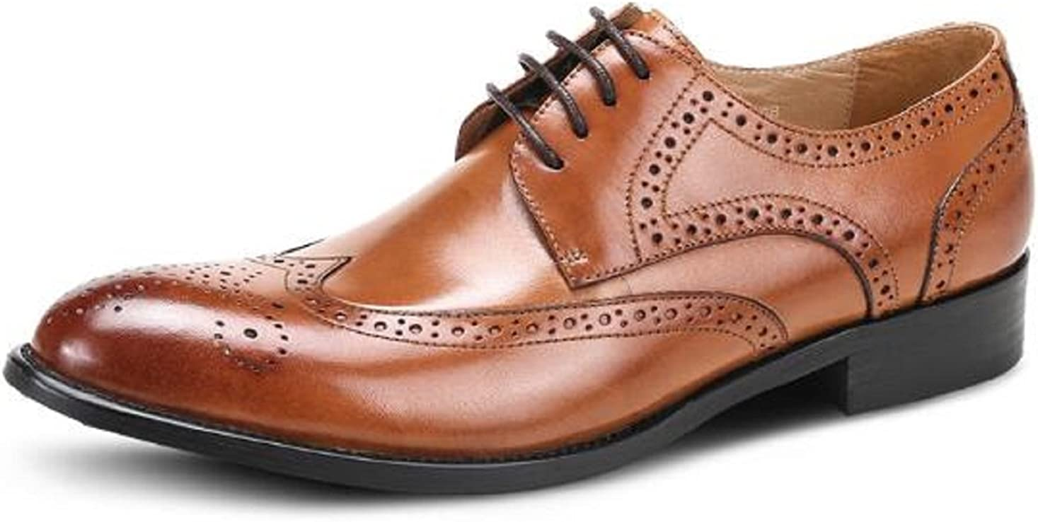 HAPPYSHOP 37 M EU, Brown TM Mens Leather Derby Shoes Lace-up Business Dress Shoes Oxford Boss