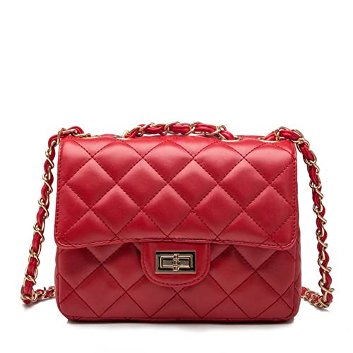 d09f1e6bc7b4 Kipten Quilted Leather Crossbody Handbag Purse with Metal Chain Strap-Red