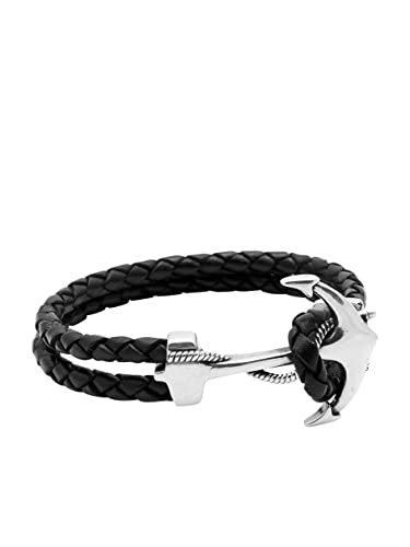 Nialaya Black Leather Bracelet with Silver Anchor - Extra Large