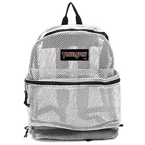 Travel Sport Transparent See Through Mesh Backpack/ School Bag (White)