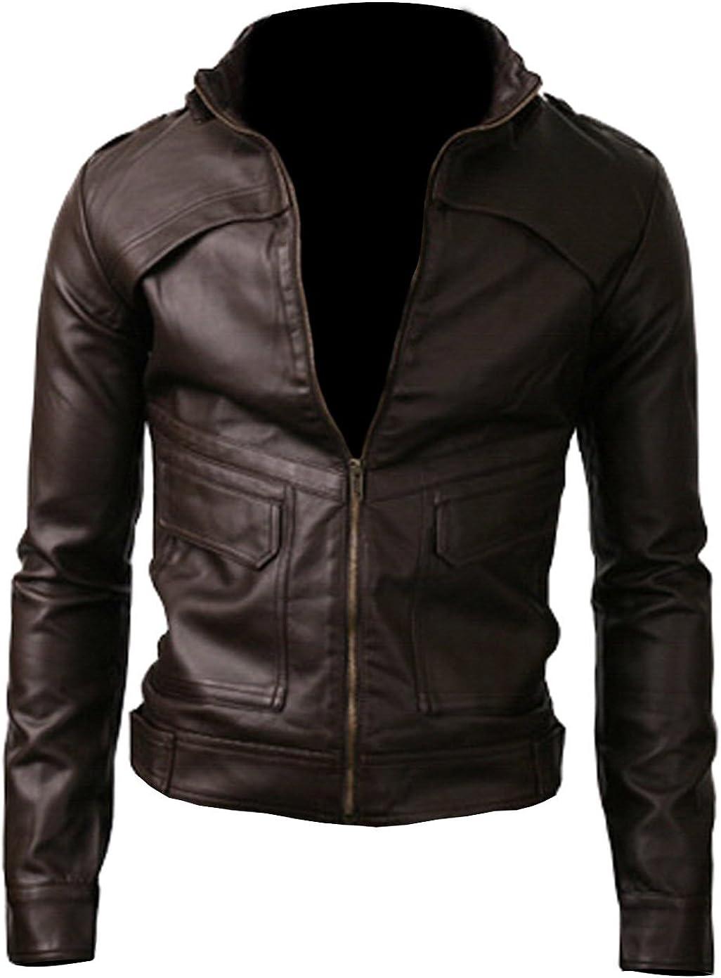 Strap Pocket Dark Brown Vintage Slimfit Jacket