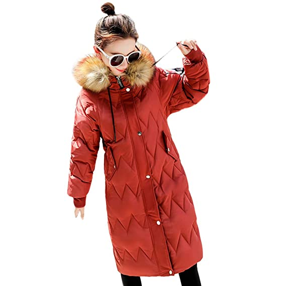 AOJIAN Women Jacket Long Sleeve Outwear Faux Fur Hooded Thick Warm Slim Quilted Overcoat Mixi Coat at Amazon Womens Clothing store: