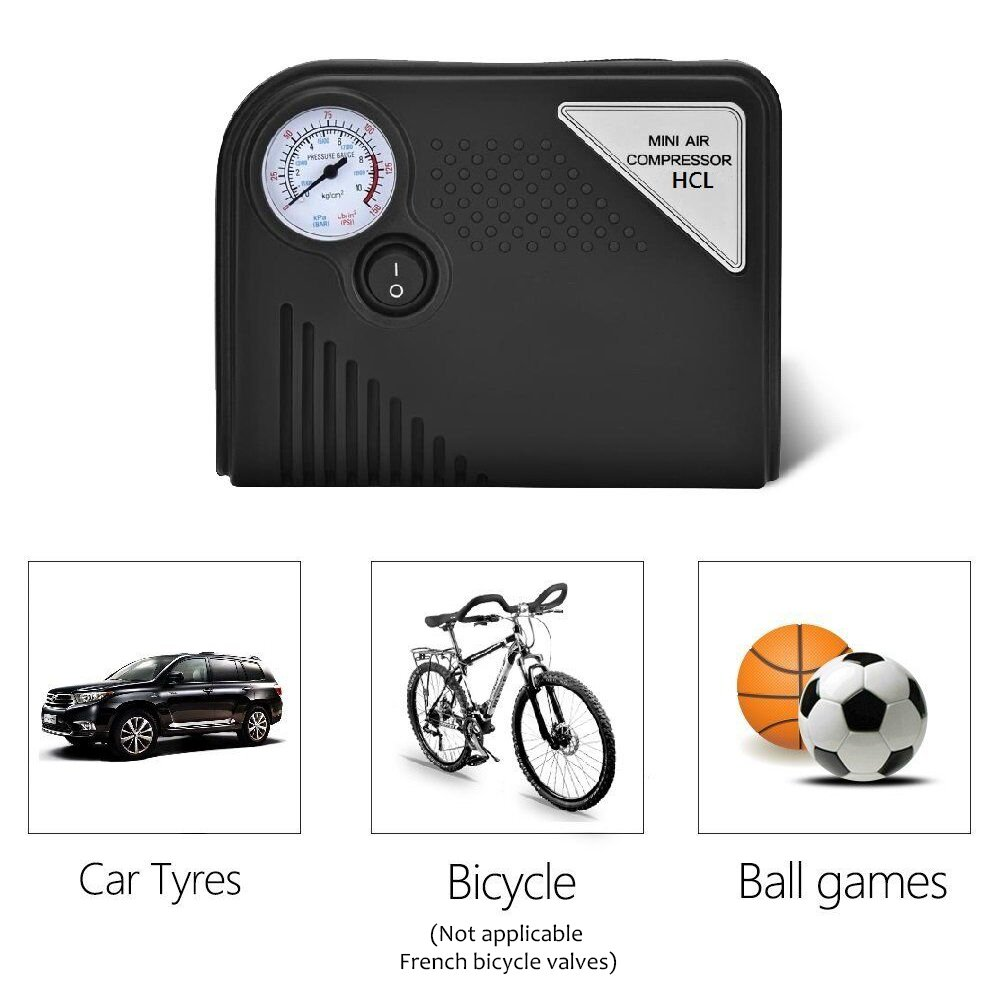 Portátil Inflador De Neumáticos, HCL Mini 150 PSI 12 V DC coche eléctrico AUTO Compresor De Aire Bomba para vehículos, camiones, bicicletas, ...