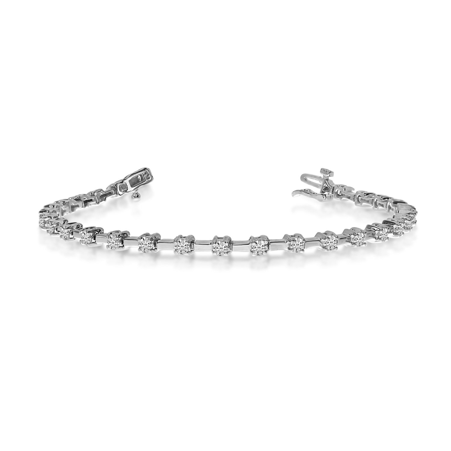 14K White Gold Round Diamond Bar Style Tennis Bracelet (7 Inch Length) by Direct-Jewelry