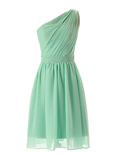 Dresstells Short Bridesmaid Dress One-shoulder Chiffon Homecoming Party Dress