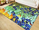 RUIKA Iris By Vincent Van Gogh Soft Rugs Area Rug Dining Room Home Bedroom Carpet Non-Slip Floor Mat 60 x 39 inches
