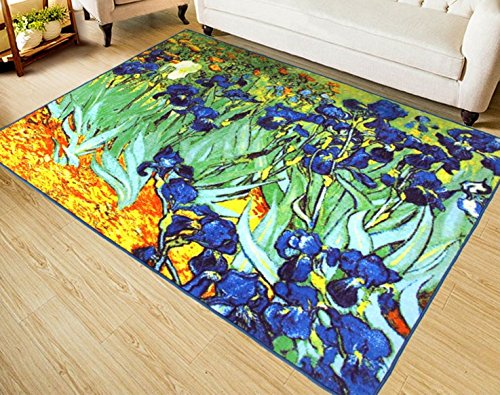 RUIKA Iris By Vincent Van Gogh Soft Rugs Area Rug Dining Room Home Bedroom Carpet Non-Slip Floor Mat 60 x 39 inches by ruika