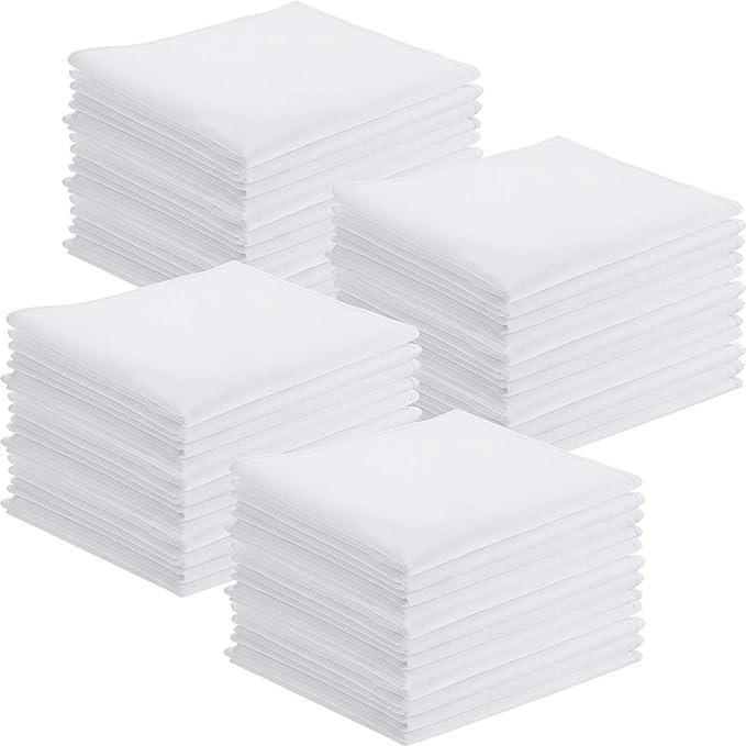 Leinuosen 50 Paquets Mouchoirs Classiques en Coton Mouchoir de Poche Carr/é Blanc pour Enfants Fille Gar/çon