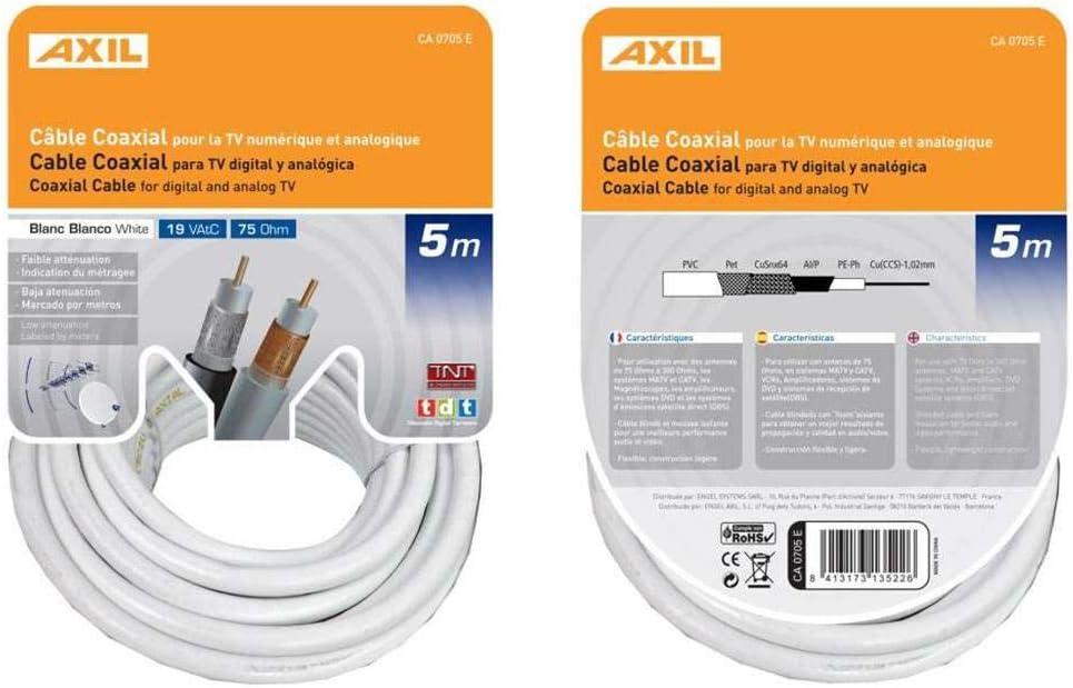 CABLE ANTENA COAXIAL 19 VATC ENGEL AXIL 5MT CA 0707E: Amazon ...
