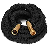 Riemex 100ft Black Expandable Garden Water Hose-TRIPLE LATEX-TOP QUALITY- Brass Fittings Connectors, Flexible - for all Watering Needs (100 FT, Black)