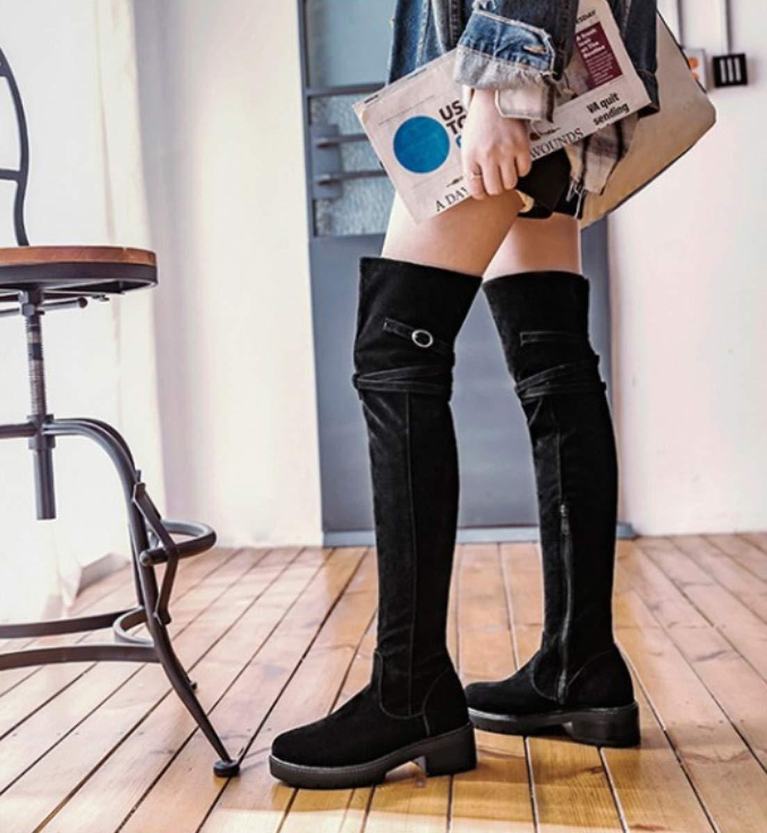 DANDANJIE Over The Knee Stiefel damen es schuhe schuhe schuhe Winter Fashion Stiefel Student Knight Stiefel schwarz ee874c