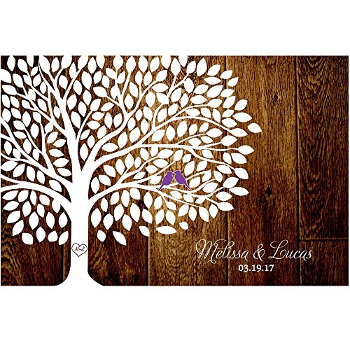 Custom Wedding Sign Personalized Wedding Tree Guest Book Alternative Poster, Print, Framed or Canvas, 200 Signatures Rustic Wood Background