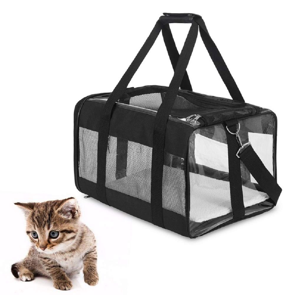 Pet Bag Carrier Middle Size, Portable with Adjustable Backpack Belt, Transparent Visible Window & Breathable in Soft-sided, Airline Approved with Safety Locked Zippers, Easy Trips with Dogs and Cats.