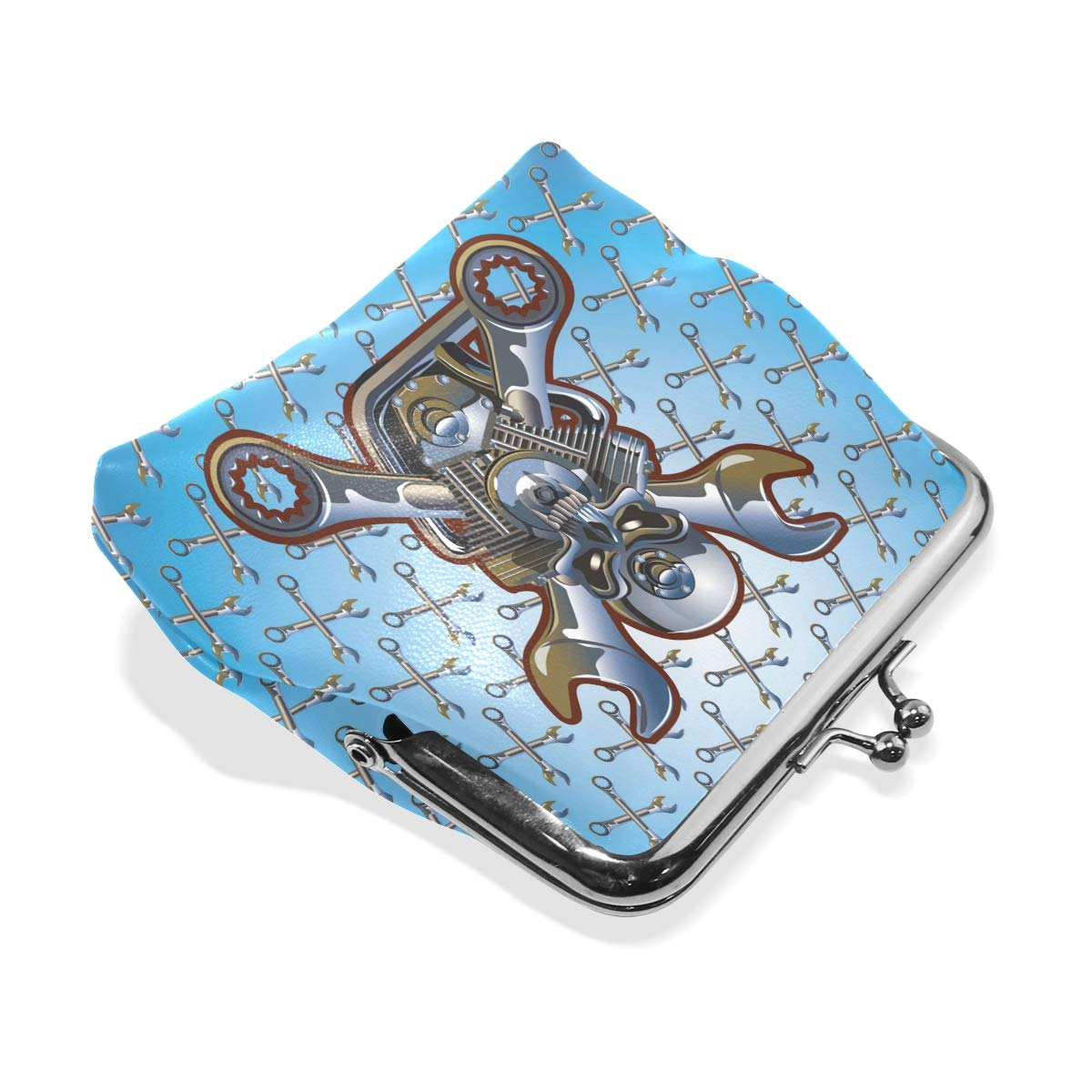 LALATOP Motorcycle Skull Womens Coin Pouch Purse wallet Card Holder Clutch Handbag