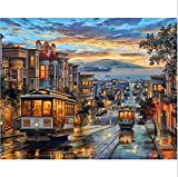DIY Oil Paint by Number Kit,Colorful Canvas Painting Paintworks Retro Tramway Light Wall Art Picture Drawing with Brushes 16 * 20 inch Decor Decorations Gifts