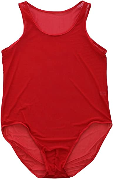 Men One Side Stretch Bodysuit Mankini Thong Underwear Wrestling Singlet Red