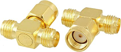 GOLD F Male to 2 two F Female Jack Triple T in series RF adapter connector 3 way