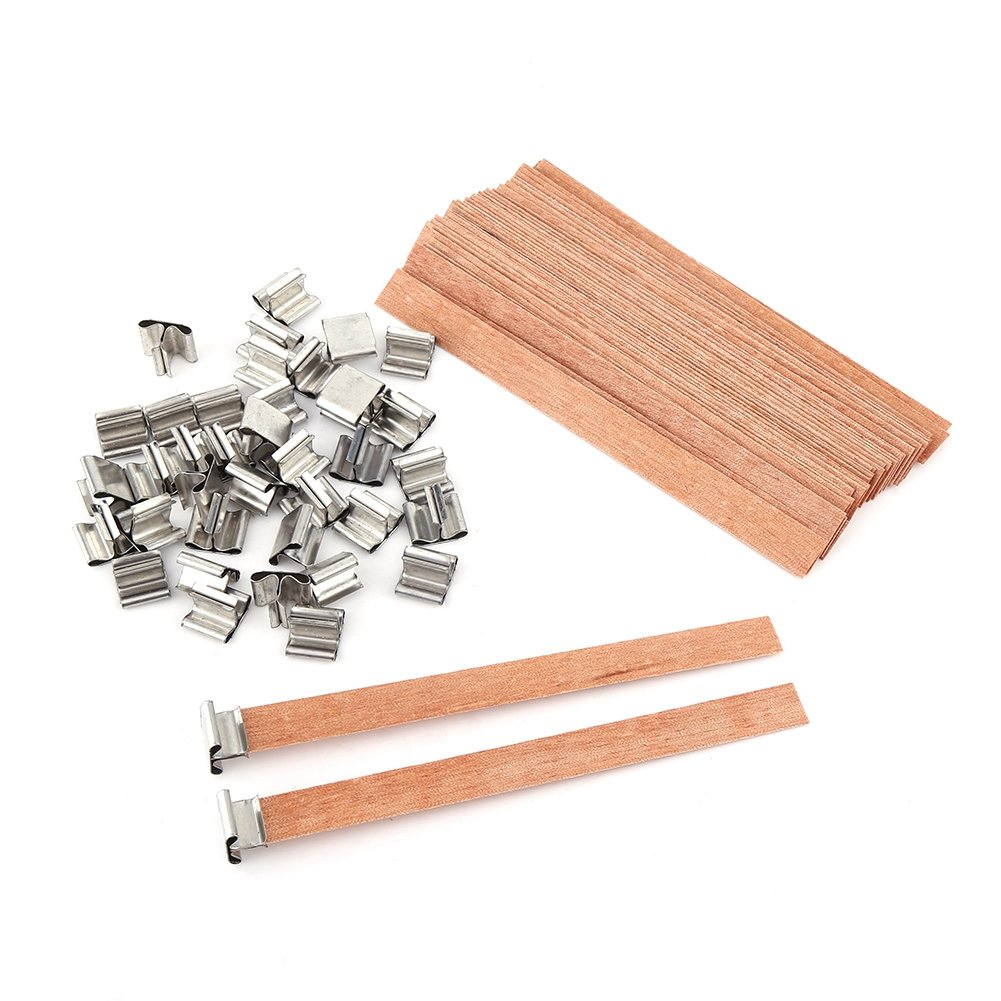 40Pcs//Lot Wooden Wick Wax Candle Works Core Sustainers Handmade DIY Craft Making 0.5in x 5.1in Cocoarm Candle Core