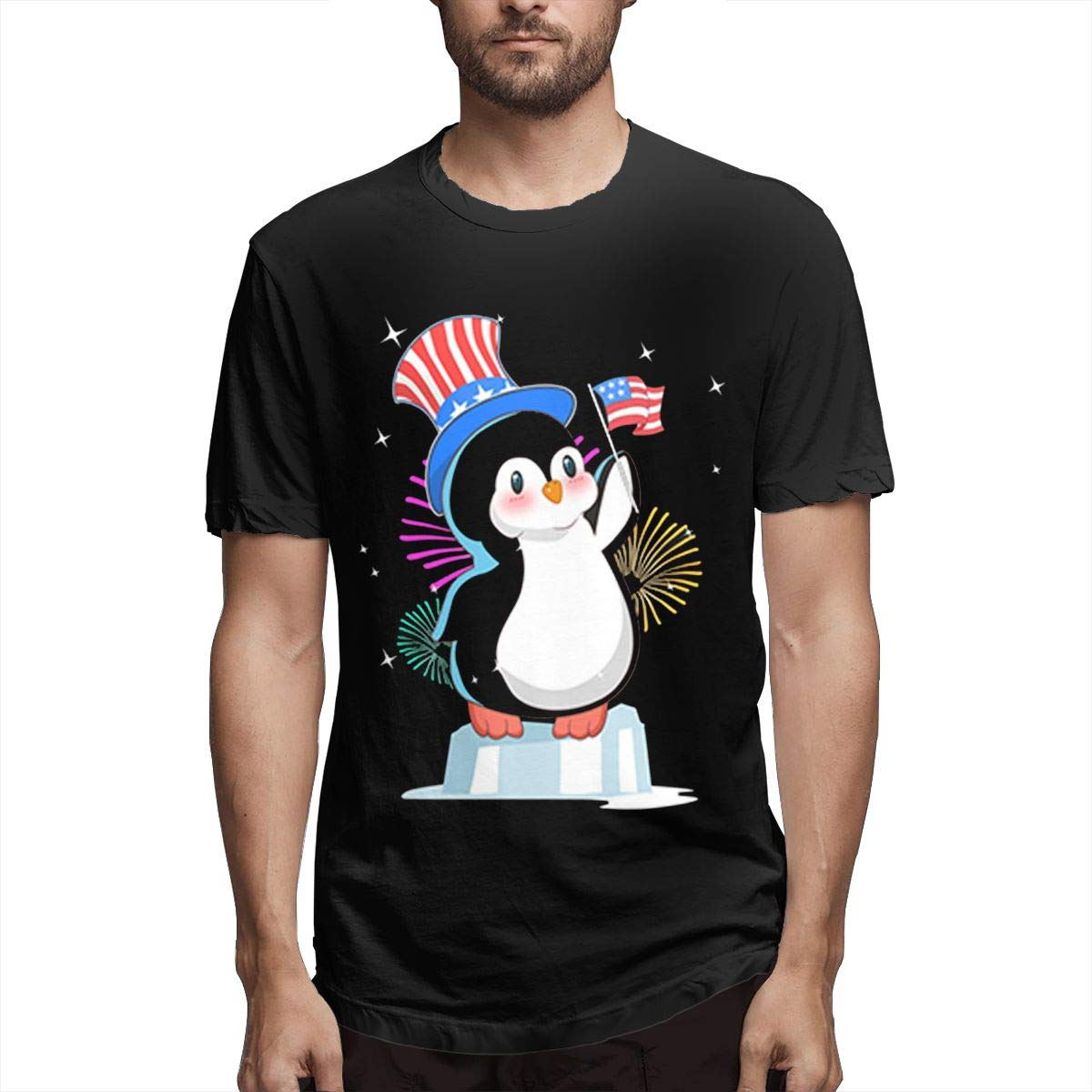 Patriot Cute Penguin American Independence S Short Sleeve Tshirt