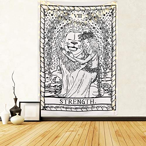 Tarot Cards Tapestry The Strength Tapestry, Bravely Girl Appeasing Lion Tapestry Medieval Europe Divination Tapestry for Room -